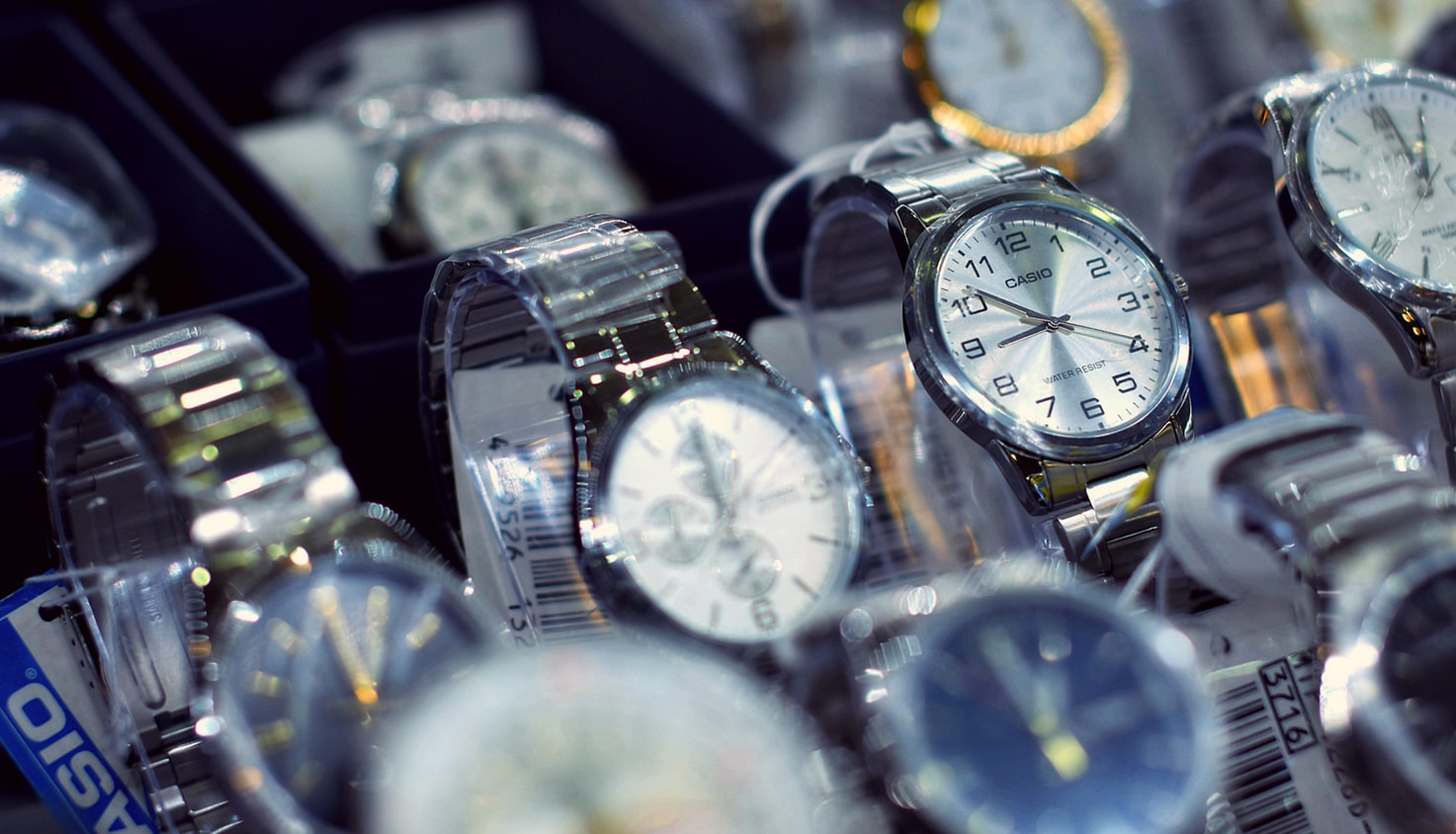 Close up on multiple watches