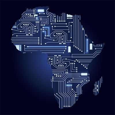 Image of Africa as a motherboard.