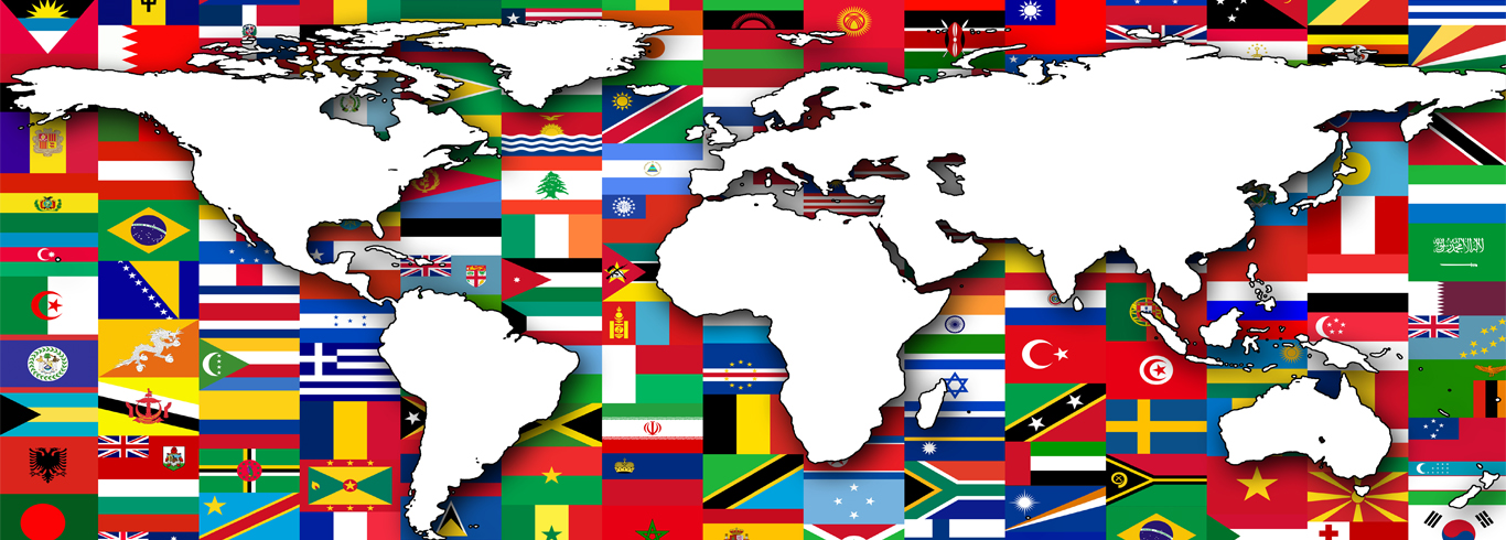 Map of the World with All Flags in Background