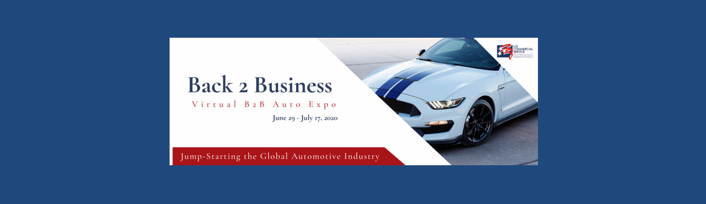 Back 2 business virutal b2b auto expo logo with image of car