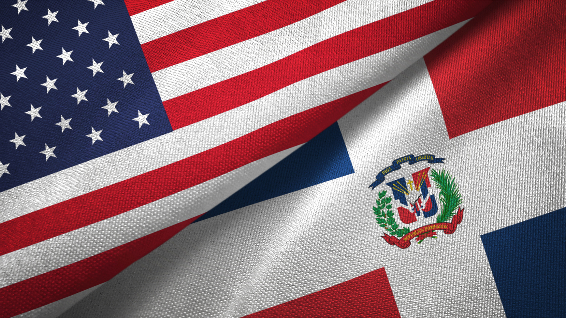 United States and Dominican Republic two flags textile cloth, fabric texture Image for Hero Box