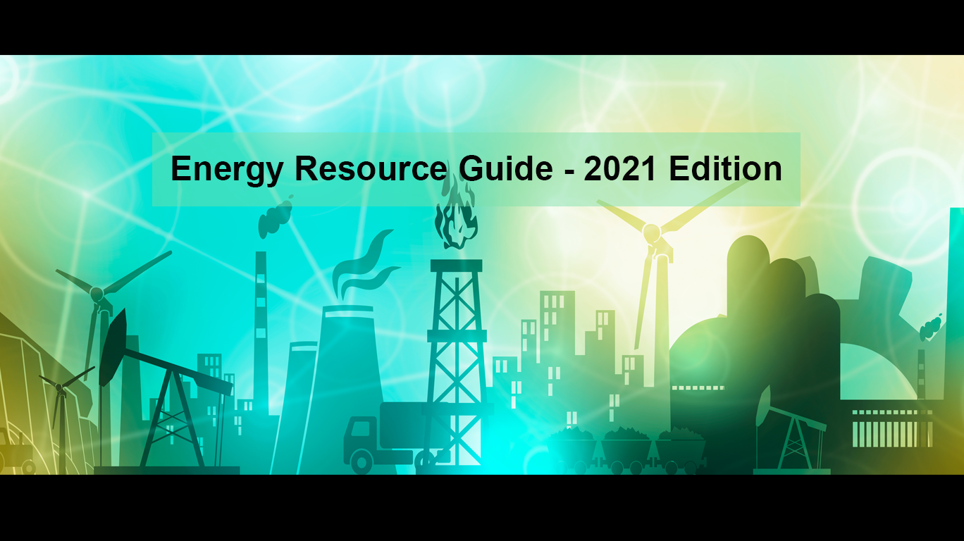Energy industry icons for oil, gas, electric, and renewable with text for Energy Resource Guide