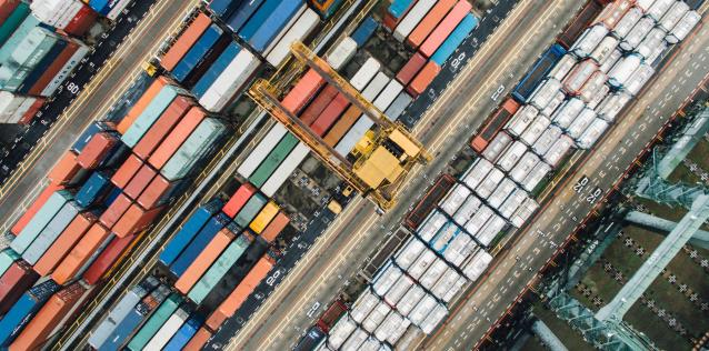 Bird's eye view of colourful cargo containers