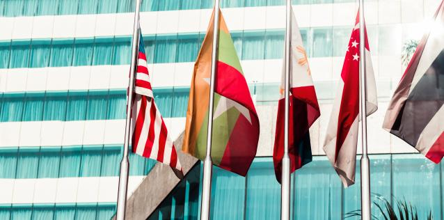 International flags in front of glass modern building