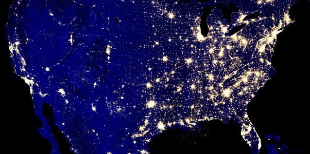 A satelite view of the United States at night