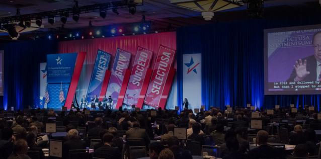 atmospheric image of the stage at the 2019 SelectUSA Summit