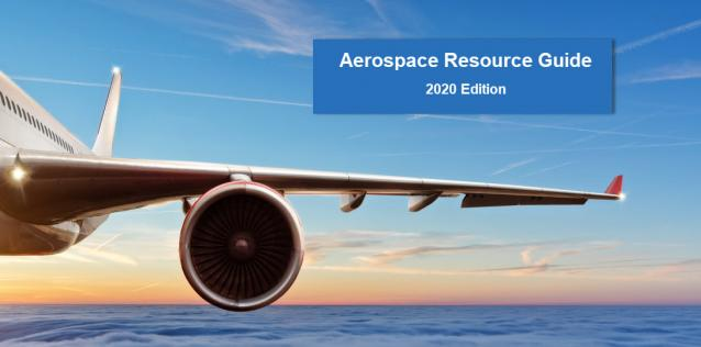 Image of civil aircraft flying with horizon in background and text for Aerospace Resource Guide