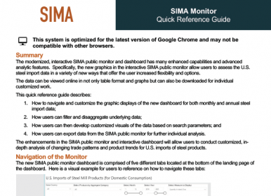 A snapshot of the SIMA Monitor Quick Reference Guide.