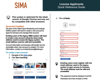 A snapshot of the Steel Licensing Application Quick Reference Guide.
